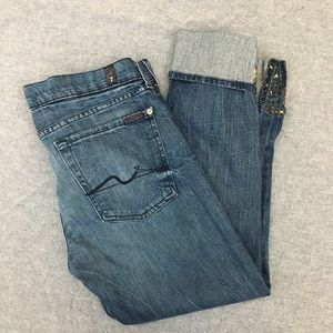 7 for all mankind cropped low rise skinny jeans